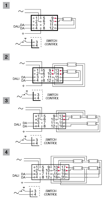 Схема подключений балластов